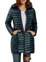 Womens Packable Long Down Jackets Lightweight Hooded Warm Puffer Coats with Zipper Pockets