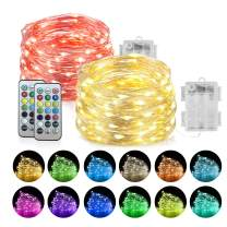 Homemory 2 Pack LED Fairy Lights, 20ft 60LEDs Battery Powered Multicolor Changing String Lights with Remote Waterproof Silver Wire Easter Lights for Bedroom, Indoor Decoration-13 Colors