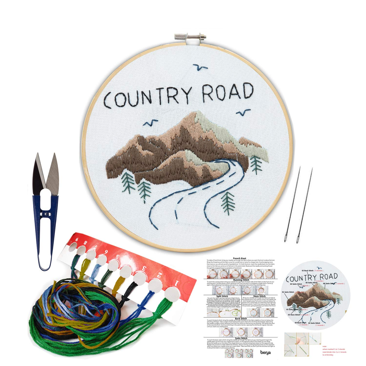 Embroidery Kit Including Embroidery Hoop,Color Threads and Embroidery Scissors for Beginners-Handmade Needlepoint Kits for Adults Kids(Mountain)
