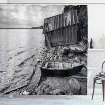 """Ambesonne Black and White Shower Curtain, Old Wooden Fishing Boat and Abandoned Barn on The Lake Coastal Charm Picture, Cloth Fabric Bathroom Decor Set with Hooks, 84"""" Long Extra, Grey"""