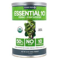 Designer Protein Essential 10 Superfood, Super Greens Powder, Immune-boosting, Organic, Vegan, and Sugar Free, 12.0 ounces,  Made in the USA