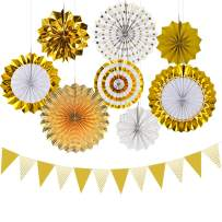 RFWIN Hanging Tissue Paper Fans Decoration Kit, Set of 8 Gold Paper Pennant Triangle Flags, Perfect for Kids Party Birthday, Bridal Wedding, Baby Shower Decor, Holiday Celebration