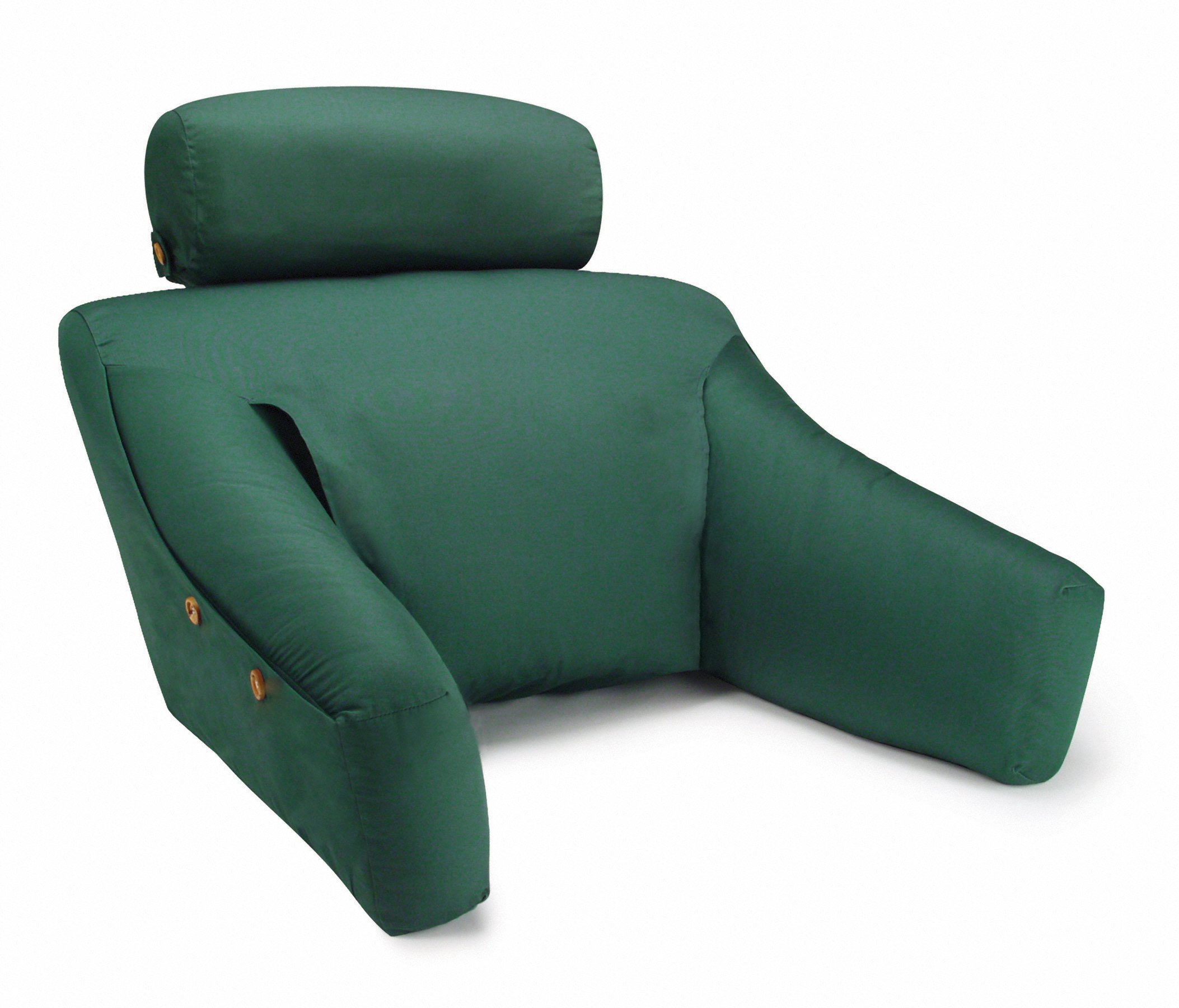 BedLounge Dr. Designed (Small Size, 100% Cotton Cover, Green Color): The Ultimate Reading Pillow, Back Support Pillow, Pregnancy Pillow, TV Pillow and More