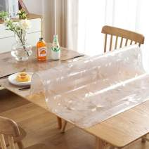 LovePads 1.5mm Thick 42 x 78 Inches Floral Table Cover Protector, Table Protector for Dining Room Table, Plastic Tablecloth Protector, Table Pad for Kitchen Wood Grain