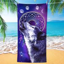 """Bonsai Tree Wolf Beach Towel, Cool Dream Catcher Microfiber Bath Towel Gifts for Boys Kids, Funny Blue Purple Galaxy Space Animals Sand Free Quick Dry Travel Towels for Mens Pool Sports 30"""" x 60"""""""