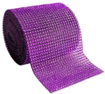 "Diamond Rhinestone Mesh Ribbon Supreme Quality Sparkling Bling Wrap Ribbon Bulk DIY Roll for Arts Crafts Party Decorations, Dark Purple, 4.75"" x 10 Yards, 24 Row, 1 Roll"