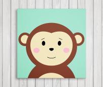 "Cute Little Animals, Nursery Canvas Print Wall Decor, Baby Kid Room Canvas Art Print, Safari Animals Poster Wall Art Print, Great Baby Shower Gift Set Idea - Ready to Hang (11""W x 11""H, Monkey)"