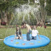 "KKONES Sprinkler Pad & Splash Play Mat 68"" Toddler Water Toys Fun for 3 4 5 6 Years Old Boy Girl,Kids Outdoor Party Sprinkler Toy"