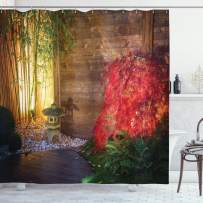 """Ambesonne Garden Shower Curtain, Japanese Stone Lantern and Red Maple Tree in an Autumnal Garden Bamboo Trees, Cloth Fabric Bathroom Decor Set with Hooks, 70"""" Long, Brown Green"""