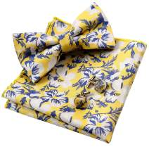 Alizeal Mens Floral Pattern Bow Tie, Hanky and Cufflinks Set