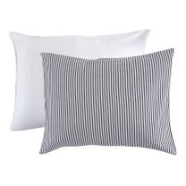 Touched by Nature Organic Cotton Envelope Toddler Pillow Case, 2 Pack, White and Gray Stripe, One Size
