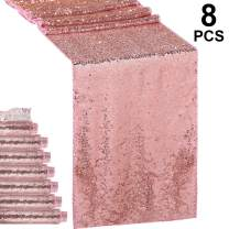 Hestya 8 Pieces Sequin Table Runner Glitter Sparkly 12 by 108 Inch for Wedding Engagement Birthday Summer Theme Party Bridal Baby Shower Dresser Decorations (Rose Gold)