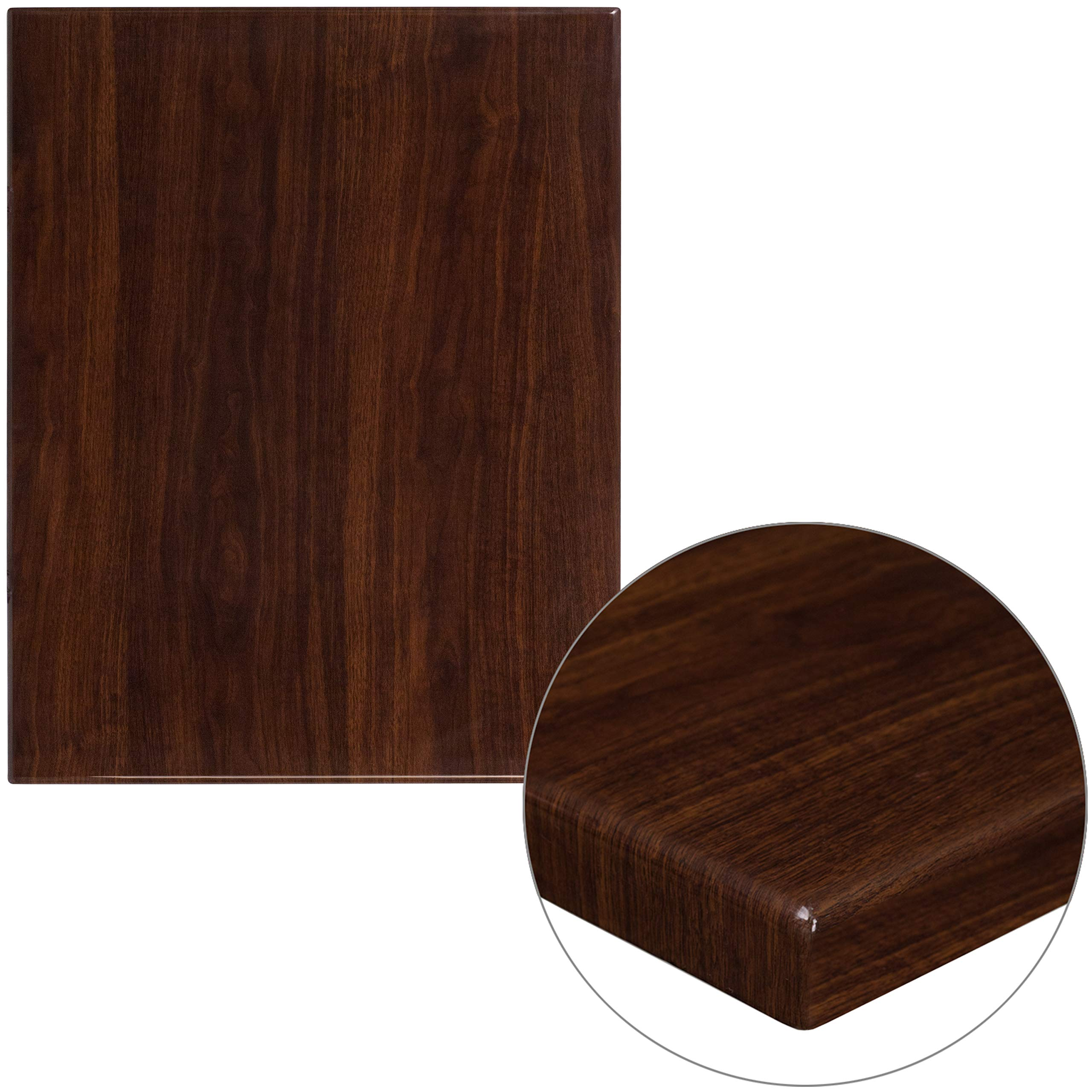 """Flash Furniture 24"""" x 30"""" Rectangular High-Gloss Walnut Resin Table Top with 2"""" Thick Edge"""