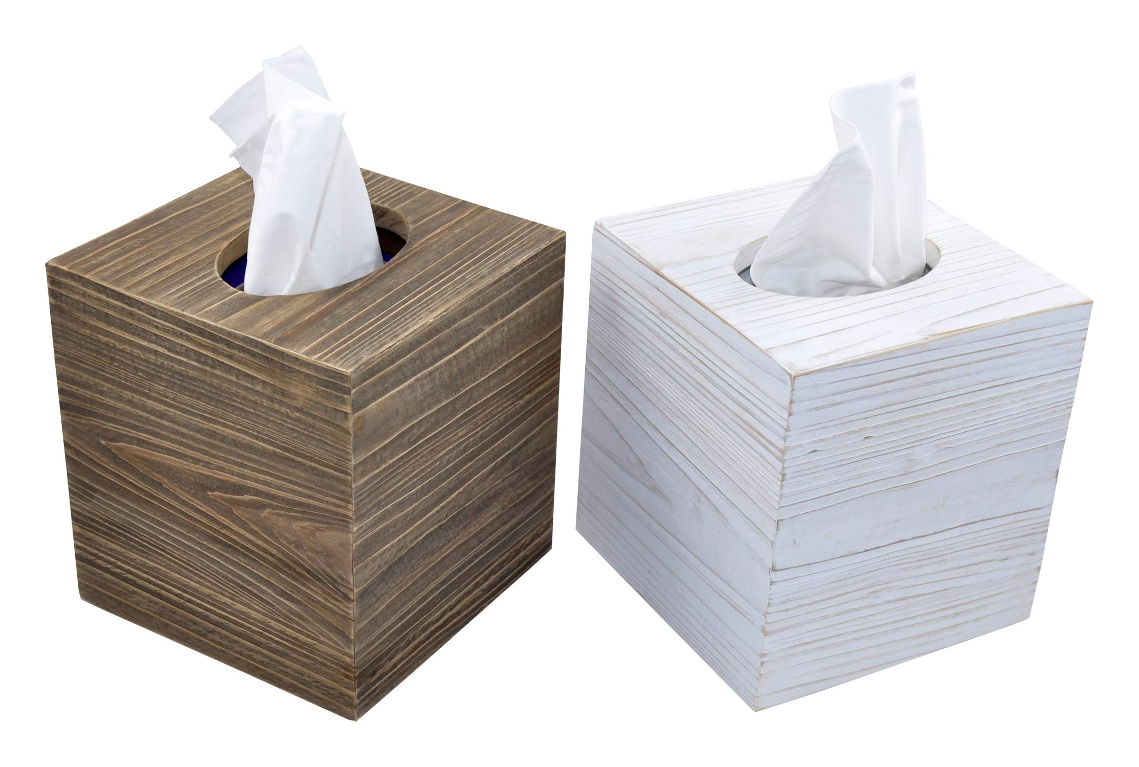 Spiretro Set of 2 Square Tissue Box Cover, Rustic Reclaimed Wood Facial Paper Holder for Bathroom, Vanity Countertops, Dressers, Night Stands, Desks, Tables – Farmhouse Classic Grey & Whitewash