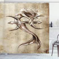 """Ambesonne Mermaid Shower Curtain, Vintage Mermaid in The Sea with an Anchor Mythical Aquatic Creature Graphic Art, Cloth Fabric Bathroom Decor Set with Hooks, 70"""" Long, Beige Brown"""