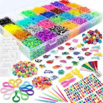 YIQIHAI 12000+ Rainbow Rubber Bands Mega Refill Bracelet Making Kit Over 11000+ Loom Bands in 28 Colors with S Clips, Charms, Beads, Backpack Hooks, Tassels, Hair Clips, Crochet Hooks, Y Loom