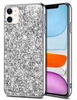 WOLLONY Case for iPhone 11 Case Glitter Sparkle Bling Shiny Phone Case for Girl Ultra Slim Durable Hybrid TPU Shockproof Bumper Hard Anti-Slip Back Protective Cover for iPhone 11 6.1inch Sliver