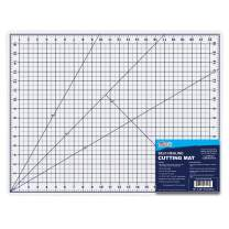 """U.S. Art Supply 18"""" x 24"""" WHITE/BLUE Professional Self Healing 5-6 Layer Double Sided Durable Non-Slip PVC Cutting Mat Great for Scrapbooking, Quilting, Sewing and all Arts & Crafts Projects"""