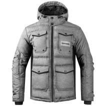 KUTOOK Winter Quilted Jacket Men Windproof Warm Puffer Coat Detachable Hood Casual Outerwear