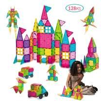 AOKESI Magnetic Toys 128 Pcs Magnet Building Tiles with 2 Cars, 3D Magnetic Building Blocks Set, Magnetic Tiles STEM Preschool Educational Construction Kit for Boys Girls Kids Children Age 3+ Year Old