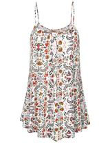 Cestyle Women's Summer Printed Tops Loose Fit Spaghetti Strap Camisoles Tunic Tank