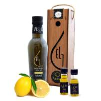 Pellas Nature, fresh organic lemon infused Greek extra virgin olive oil, 2020 award winning, wooden box, 2 extra samples, 250 ml (8.45 oz) dark bottle