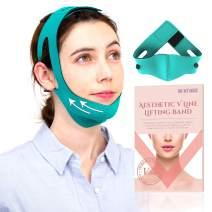 Double Chin Reducer Face Slimming Strap – Reusable Heat Generating V Line Face Lift Mask by Ohmymuse (Green)