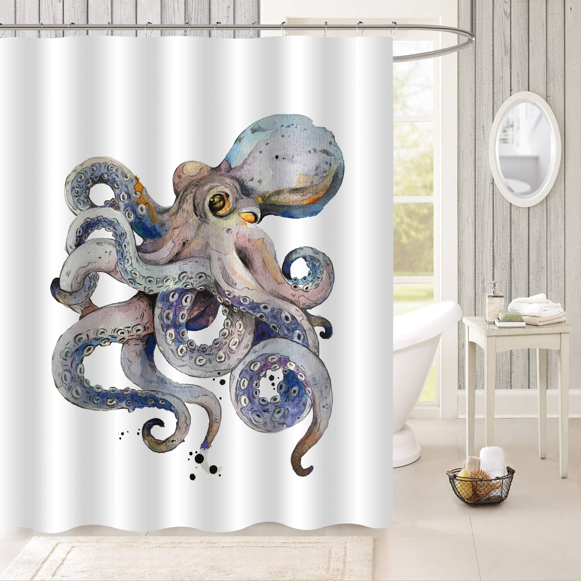 """MitoVilla Retro Octopus Kraken Shower Curtain, Cartoon Cute Octopus Watercolor Painting Wildlife Bathroom Decor for Baby Boy, Mens and Ocean Animal Lovers Gifts, Grey, 72"""" W x 72"""" L for Shower Tub"""