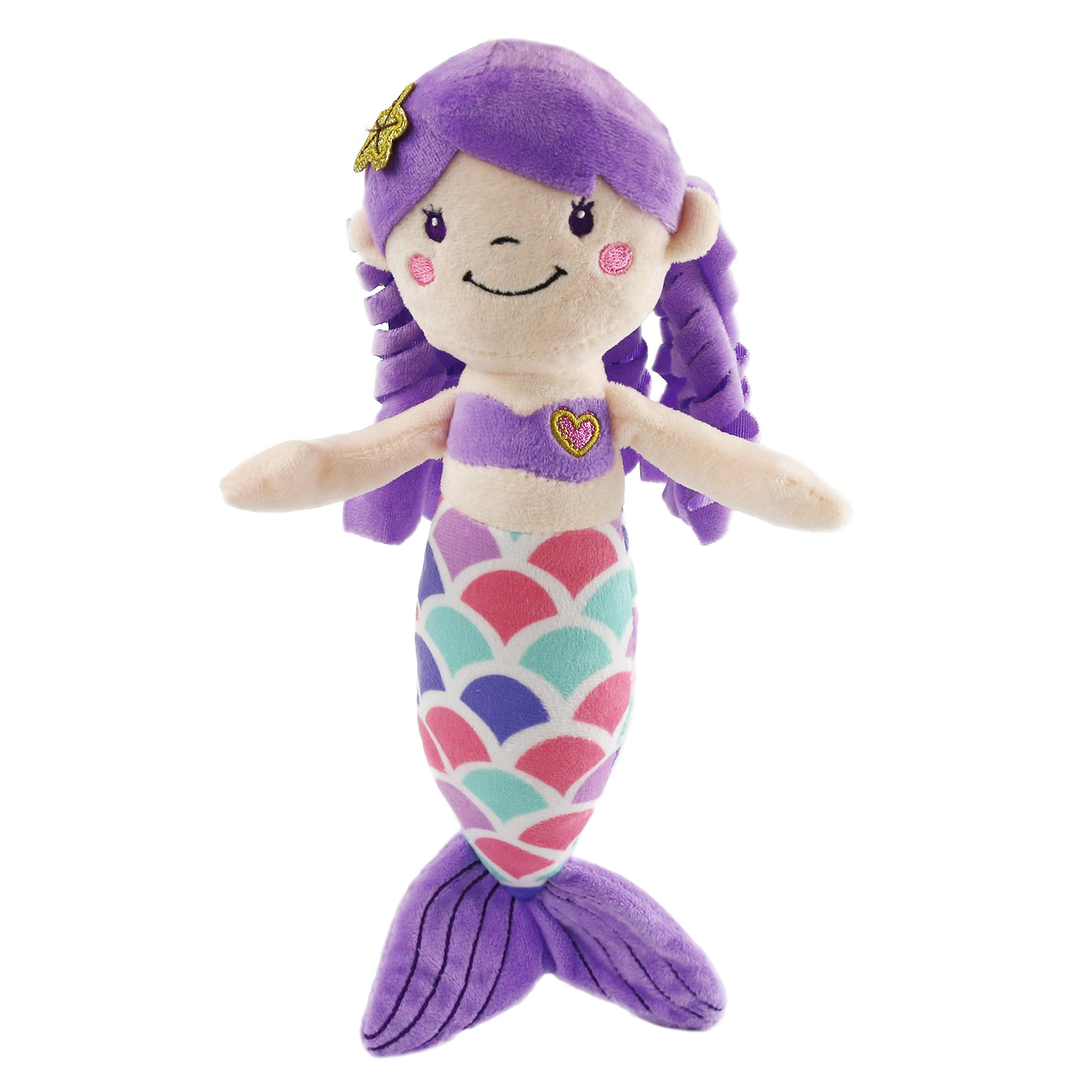 Athoinsu Mermaid Princess Stuffed Animals Soft Plush Toys Doll Birthday Children's Day for Toddler Girls, 12'' (Purple)