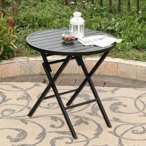 PHI VILLA Dia.28 Patio Round Folding Bistro Table,Outdoor Portable Dining Table, Aluminum Table Top, Metal Footing Frame, Black