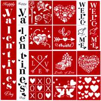 16pcs Love Stencil for Painting on Wood,Welcome Valentine's Sign Stencils Reusable Porch Sign and Front Door Vertical Happy Valentine's Day Decorations with Love Sign,Be Mine and Other Pattern