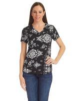 LL Womens Print Deep V Neck Short Sleeve Print T Shirt - Made in USA