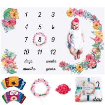 Baby Monthly Milestone Blanket Girl Floral – Soft Fluffy Design – 60 x 40 in – 1 to 12 with Days, Weeks, Months and Years– Includes Wreath and Hairband Markers, 18 Baby Occasions Cards and an e-book