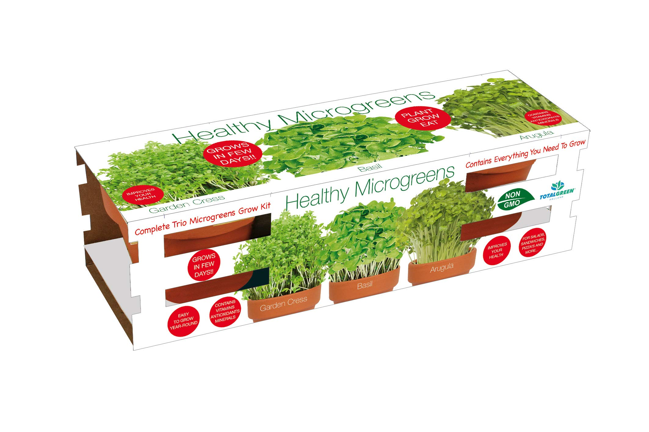 Microgreens Trio Grow Kit by TotalGreen Holland | Home Project Germination Kit | Grow from Seed | Grow Your own Garden Cress, Basil & Arugula