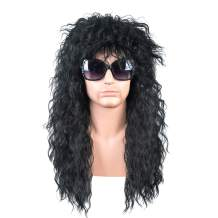 SiYi 80s costumes wig Halloween Long Black rocker wigs for men