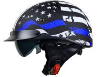 Vega Helmets Unisex-Adult Half Size Motorcycle Helmet (Back the Blue, Small)