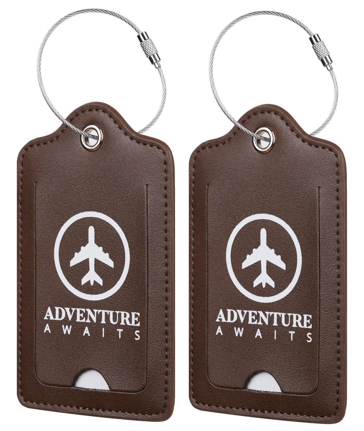Chelmon Leather Luggage Tags Baggage Bag Instrument Tag 2 Pcs Set (Coffee coffee 8051)