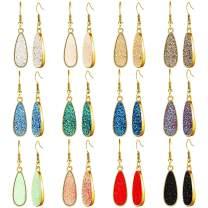 12 Pairs Valentine's Day Faux Druzy Drop Earrings Crystal Pendant Dangle Earrings Multicolor Stainless Steel Earrings