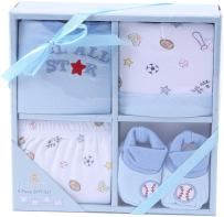 Big Oshi 4 Piece Layette Newborn Baby Gift Set for Boys - Great Baby Shower or Registry Gift Box to Welcome a New Arrival - Includes all the Essentials - Booties, Cap, Shirt and Shorts, Blue