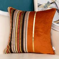 Yangest Burnt Orange Striped Patchwork Velvet Throw Pillow Cover Gold Leather Cushion Case Modern Zippered Pillowcase for Sofa Couch Bedroom Living Room Home Decoration,20x20 Inch