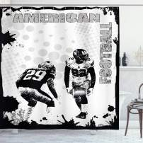 """Ambesonne Sports Shower Curtain, Grungy American Football Image International Team World Cup Kick Play Speed Victory, Cloth Fabric Bathroom Decor Set with Hooks, 75"""" Long, Black White"""
