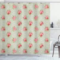 "Lunarable Roses Shower Curtain, Shabby Form English Roses Feminine Spring Garden Flourish Retro Style, Cloth Fabric Bathroom Decor Set with Hooks, 75"" Long, Green Coral"
