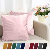 Sleep Mantra Cushion Cover Blush 2-Piece Set - Luxurious Soft Cozy Velvet 18 x 18 Throw Pillow Covers, 2 Piece Solid Smooth Durable Home Decor Pillowcase Set with Hidden Zipper for Bedroom or Car