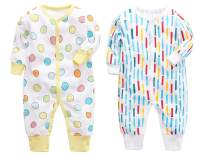 CHUBBYBUN BABY 2-Pack Cotton Footless Long Sleeve Romper Jumpsuit Sleep and Play