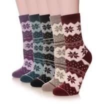 Velice Women's Winter Wool Warm Thickened Crew Socks 5 Pair