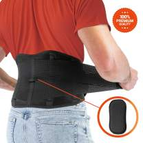 FITGAME Back Brace - Lower Back Support Belt for Pain Relief | Sciatica, Herniated Disc and Scoliosis for Men and Women - Adjustable Straps and Removable Lumbar Pad (Medium)