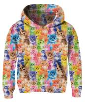 BFUSTYLE Girls 3D Print Pullover Hoodies with Pocket Kids Hooded Sweatshirt Size 4-14