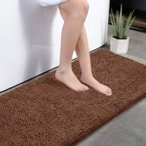 "KMAT Bath Mat Rug Nonslip Plush Chenille Bathroom mat Quick Absorbent 28"" x 47"" Coffee Large Bath Rug for Bathroom Floor Tub Shower Bedroom Living Room,Machine Washable"
