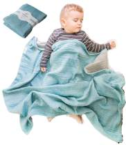 Muslin Baby Blankets for Girls Boys-Mebien Receiving Stroller Crib Nursery Bedding Lightweight Blanket Quilt Swaddle -Infant Toddler Newborn Unisex -Baby Shower Registry Gifts- Turquoise&Grey 38x42