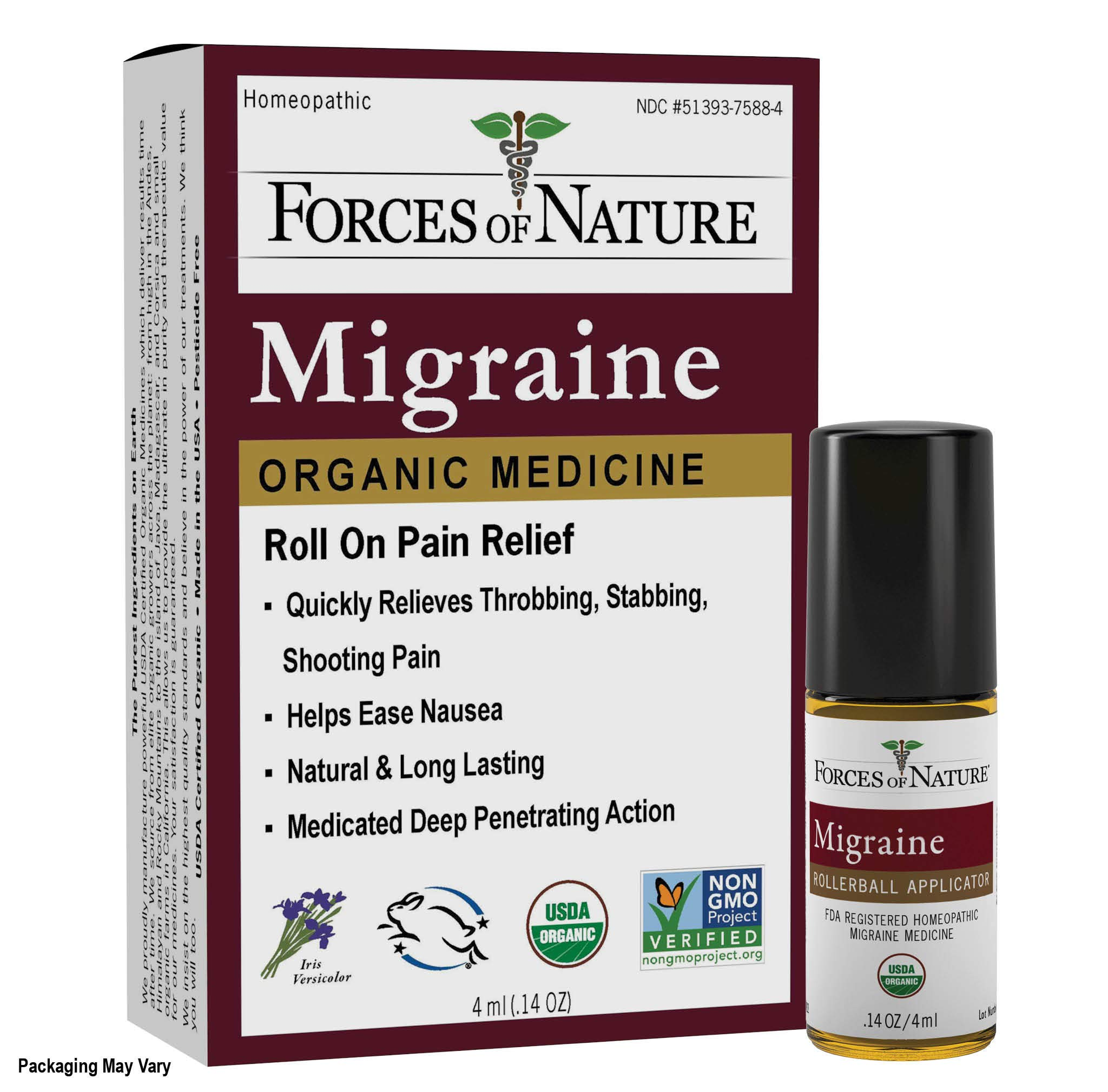 Forces of Nature -Natural, Organic Migraine Pain Relief (4ml) Non GMO, No Harmful Chemicals -Alleviate Prodrome, Aura, Headache, Fatigue, Light and Sound Sensitivity, Nausea Associated with Migraines